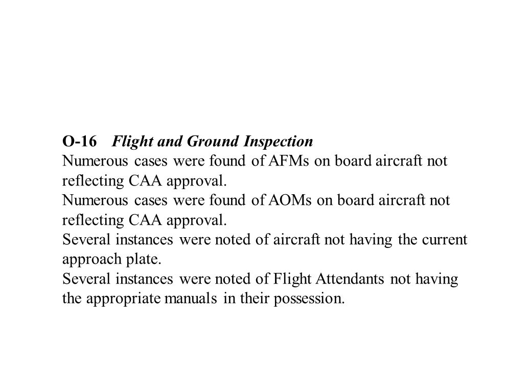 O-16Flight and Ground Inspection Numerous cases were found of AFMs on board aircraft not reflecting CAA approval.