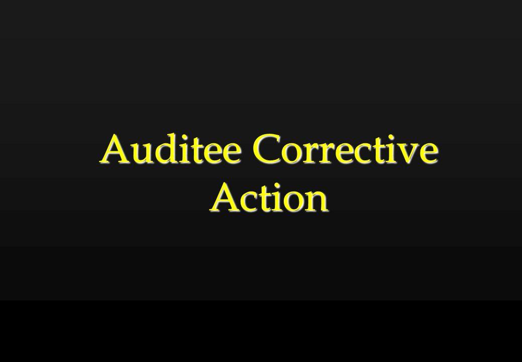 Auditee Corrective Action