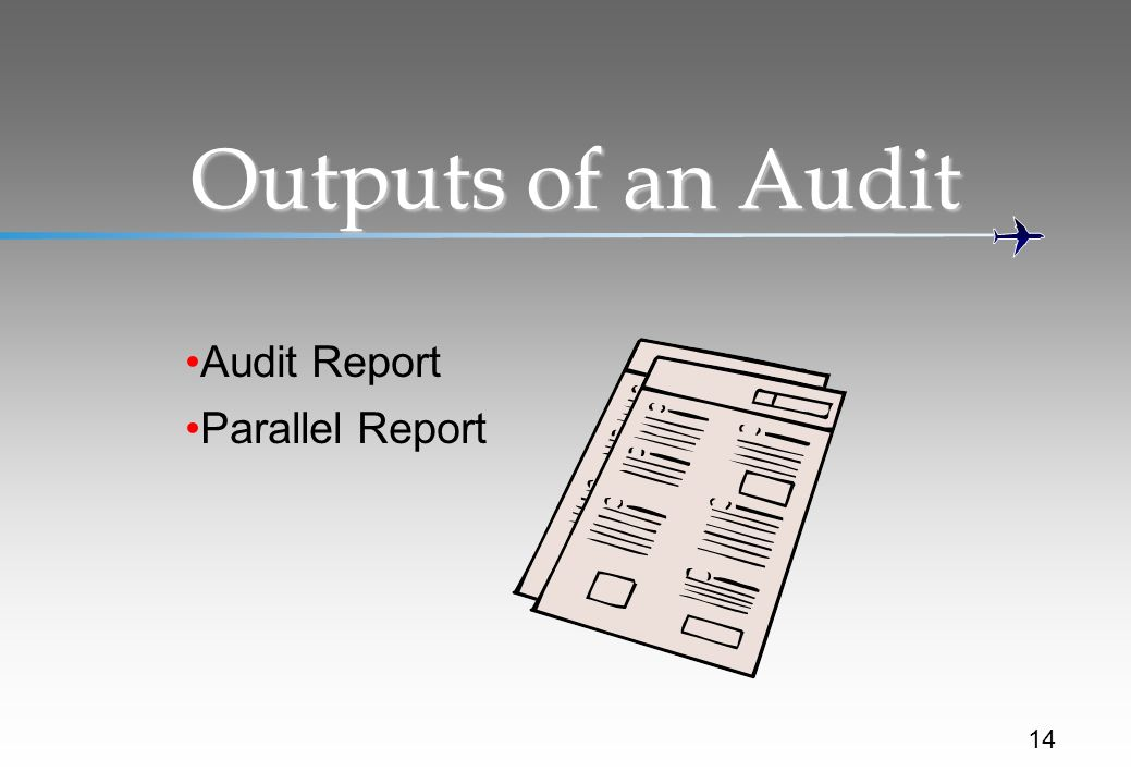 Outputs of an Audit Audit Report Parallel Report 14