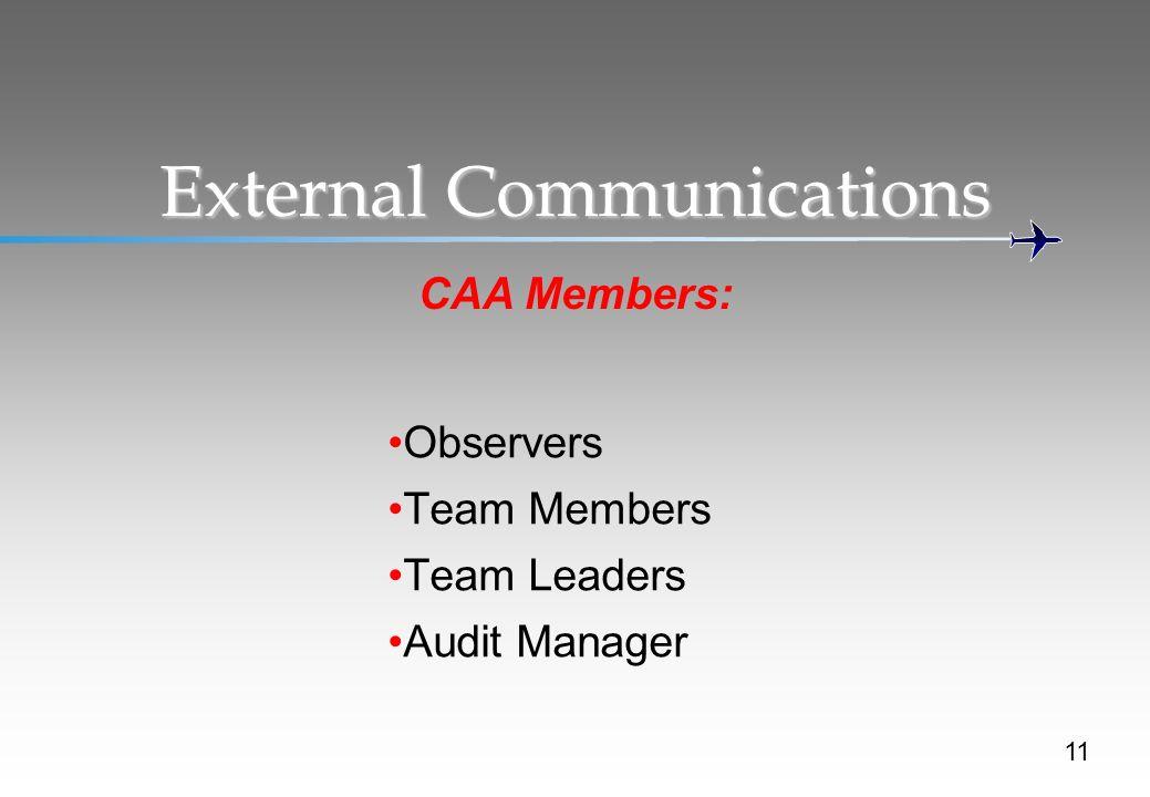 External Communications CAA Members: Observers Team Members Team Leaders Audit Manager 11