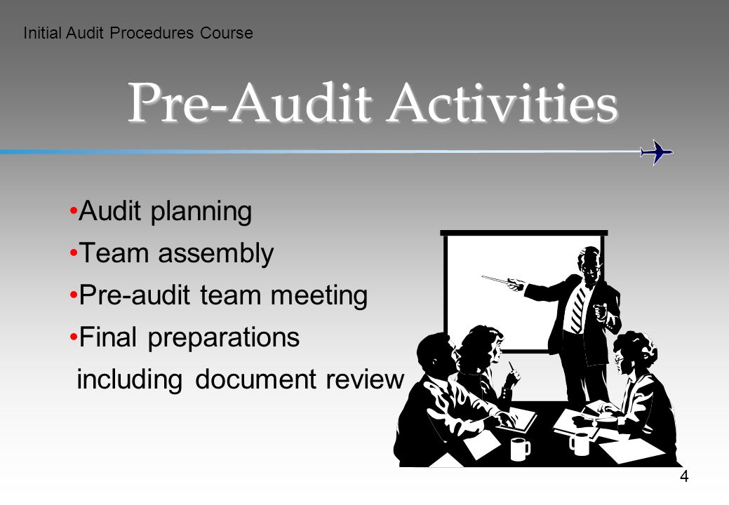 Initial Audit Procedures Course Pre-Audit Activities Audit planning Team assembly Pre-audit team meeting Final preparations including document review 4