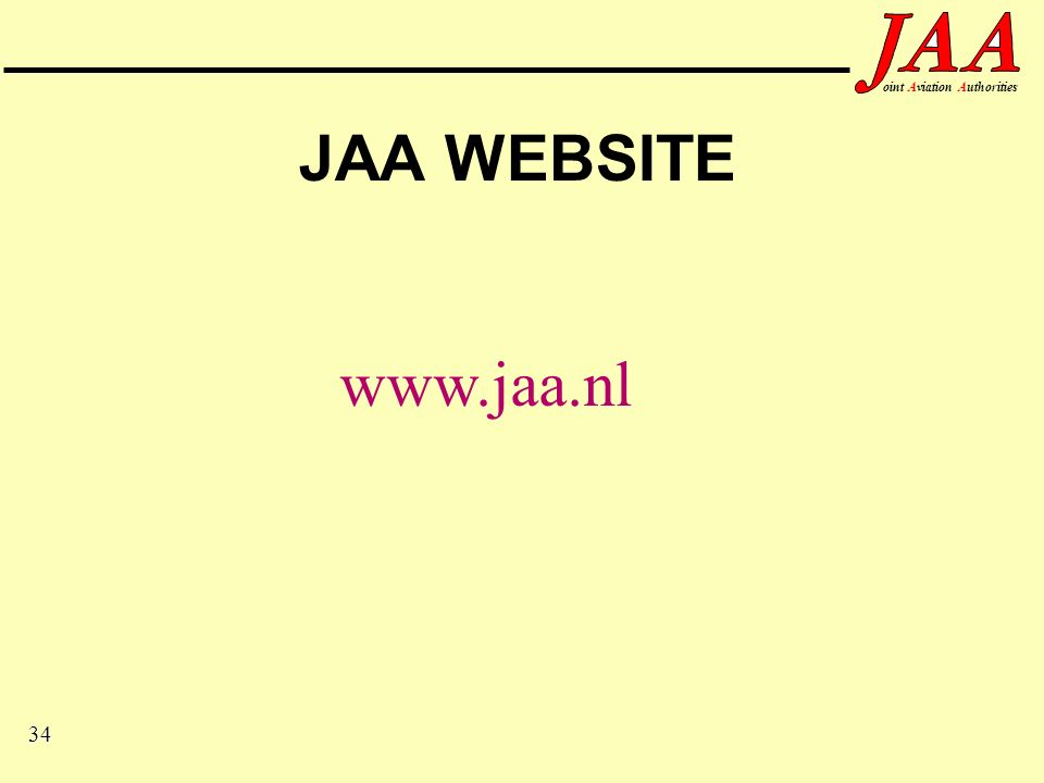 34 ointAviationAuthorities JAA WEBSITE www.jaa.nl