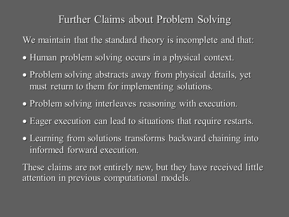 We maintain that the standard theory is incomplete and that: Human problem solving occurs in a physical context.