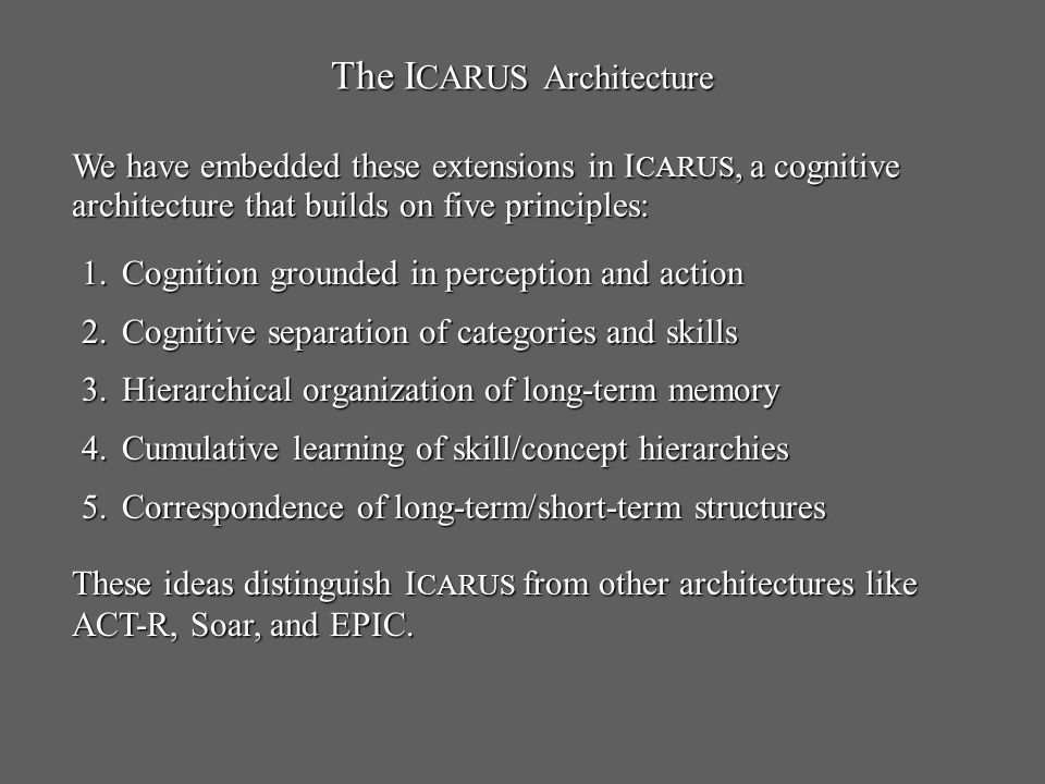 The I CARUS Architecture 1.Cognition grounded in perception and action 2.Cognitive separation of categories and skills 3.Hierarchical organization of long-term memory 4.Cumulative learning of skill/concept hierarchies 5.Correspondence of long-term/short-term structures We have embedded these extensions in I CARUS, a cognitive architecture that builds on five principles: These ideas distinguish I CARUS from other architectures like ACT-R, Soar, and EPIC.
