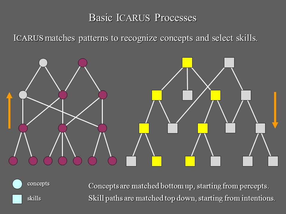 Basic I CARUS Processes concepts skills Concepts are matched bottom up, starting from percepts.