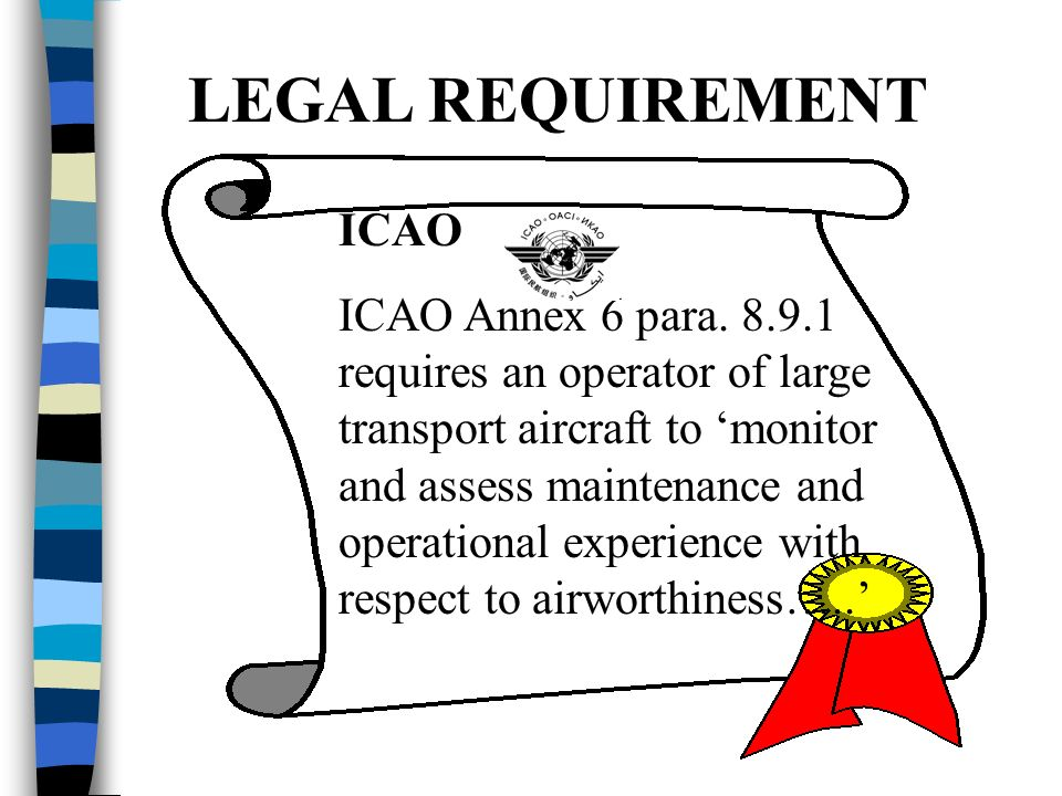 LEGAL REQUIREMENT ICAO ICAO Annex 6 para.