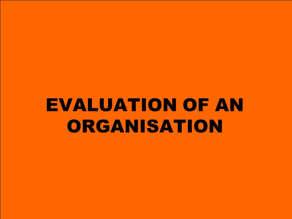 17 EVALUATION OF AN ORGANISATION