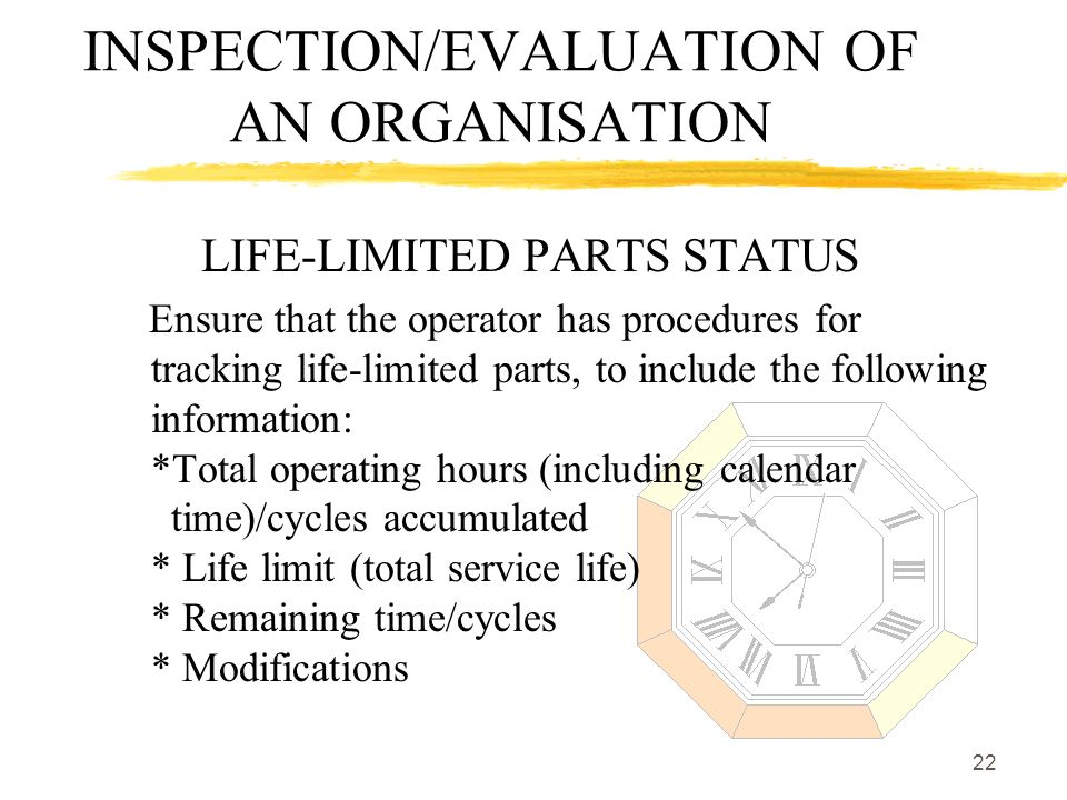 22 INSPECTION/EVALUATION OF AN ORGANISATION LIFE-LIMITED PARTS STATUS Ensure that the operator has procedures for tracking life-limited parts, to incl