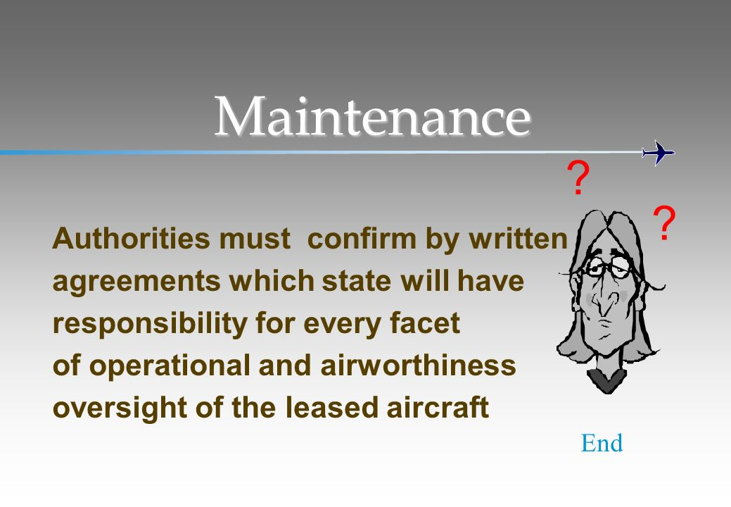 Maintenance Authorities must confirm by written agreements which state will have responsibility for every facet of operational and airworthiness overs
