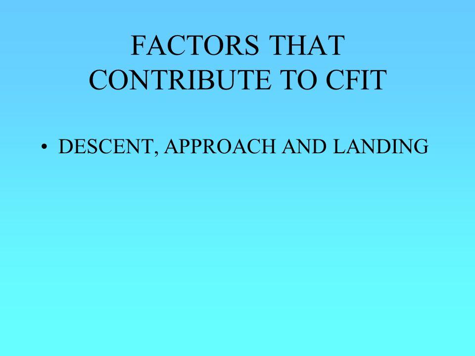 FACTORS THAT CONTRIBUTE TO CFIT DESCENT, APPROACH AND LANDING