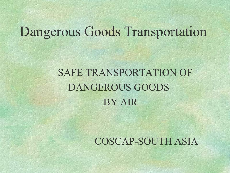 Dangerous Goods Transportation §IN CASE OF SPILLAGE IN CARGO HOLD IDENTIFY SPECIFIC CARGO BY LABEL AND UN No.