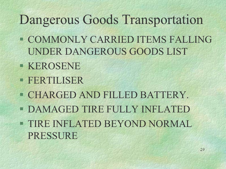 Dangerous Goods Transportation §COMMONLY CARRIED ITEMS FALLING UNDER DANGEROUS GOODS LIST §KEROSENE §FERTILISER §CHARGED AND FILLED BATTERY. §DAMAGED