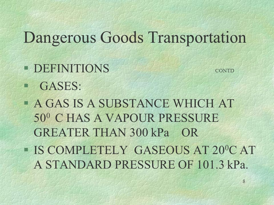 Dangerous Goods Transportation §EVERY POSSIBLE CHEMICAL COMPOUND ORGANIC OR INORGANICHAVE BEEN LISTED IN THE ICAO DOC 9284.