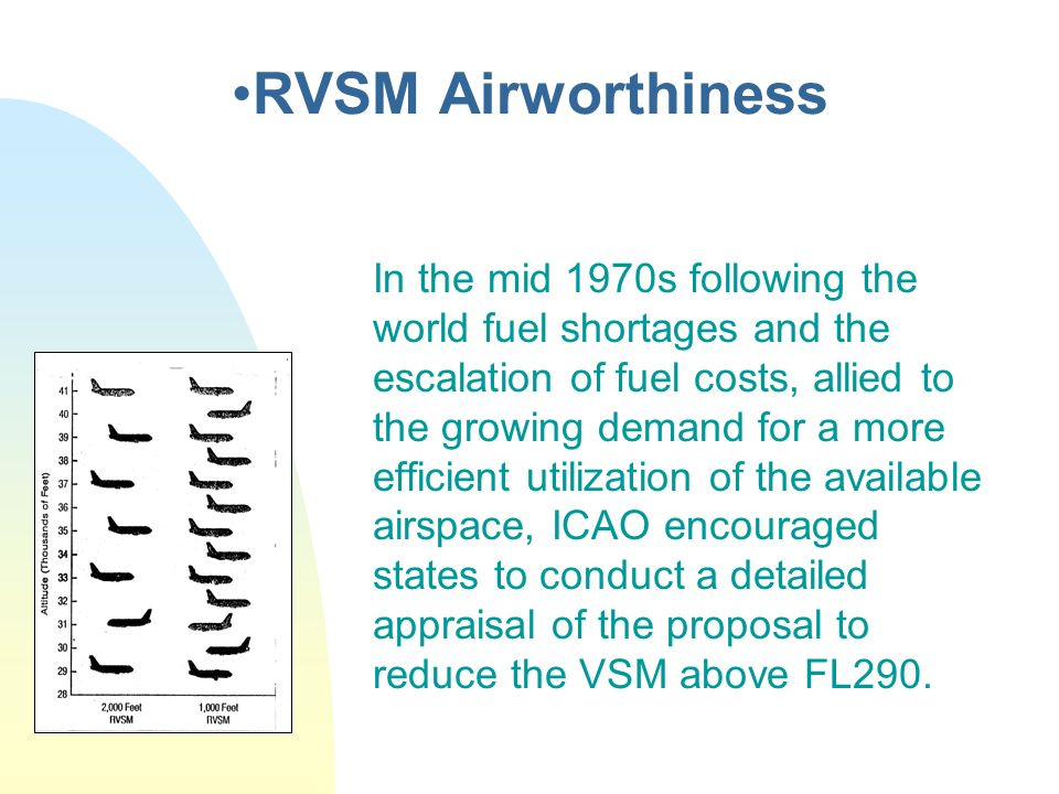 RVSM Airworthiness In the mid 1970s following the world fuel shortages and the escalation of fuel costs, allied to the growing demand for a more effic