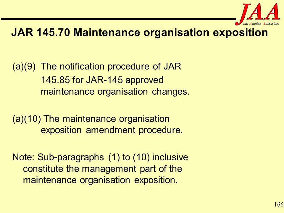 166 ointAviationAuthorities JAR 145.70 Maintenance organisation exposition (a)(9) The notification procedure of JAR 145.85 for JAR-145 approved mainte