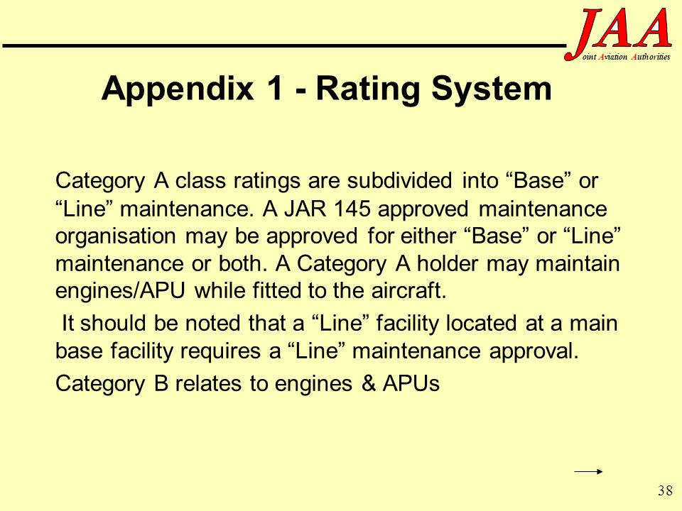 38 ointAviationAuthorities Appendix 1 - Rating System Category A class ratings are subdivided into Base or Line maintenance. A JAR 145 approved mainte