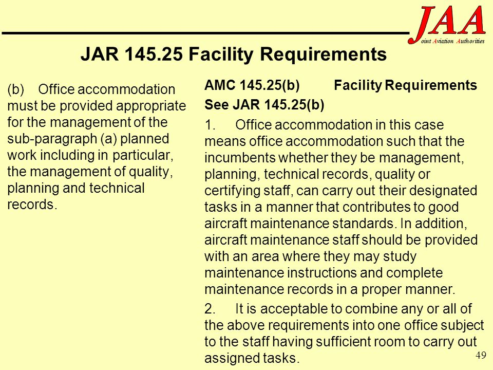 49 ointAviationAuthorities JAR 145.25 Facility Requirements (b)Office accommodation must be provided appropriate for the management of the sub-paragra