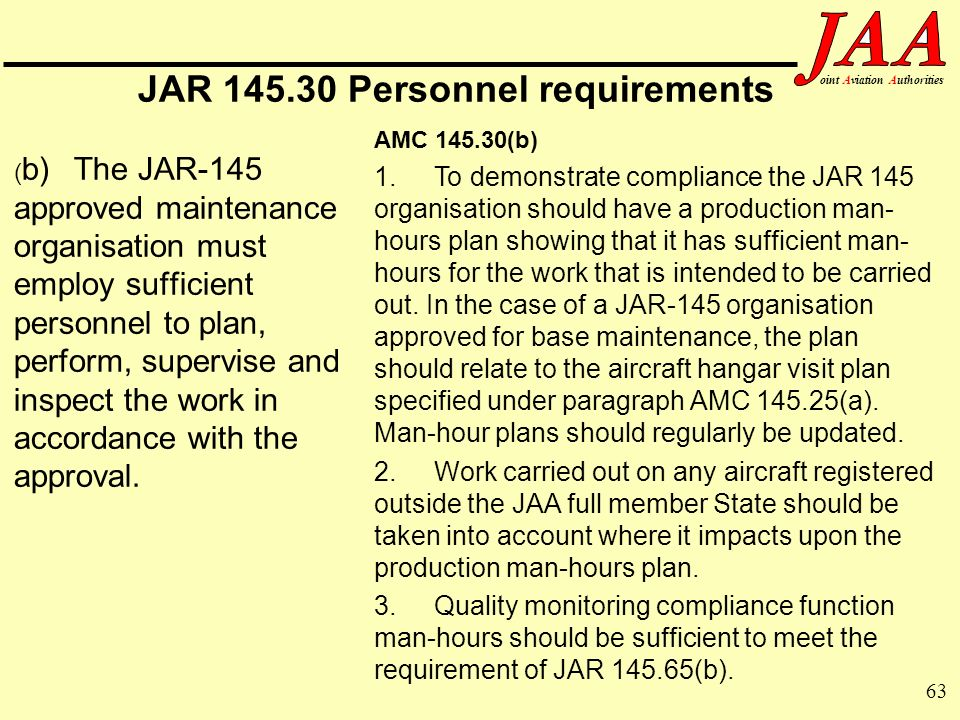 63 ointAviationAuthorities JAR 145.30 Personnel requirements ( b)The JAR-145 approved maintenance organisation must employ sufficient personnel to pla