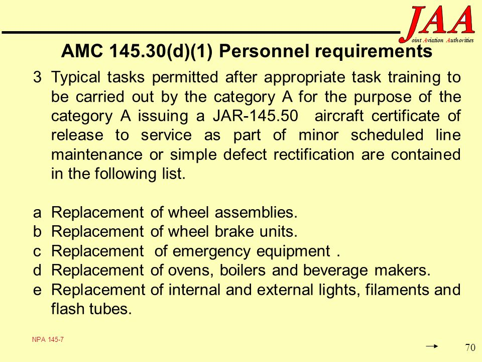 70 ointAviationAuthorities AMC 145.30(d)(1) Personnel requirements 3Typical tasks permitted after appropriate task training to be carried out by the c