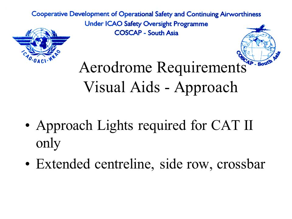 Aerodrome Requirements Visual Aids -Aerodrome Markings centreline, touchdown, taxiway, taxi- holding position markings High intensity threshold, runwa