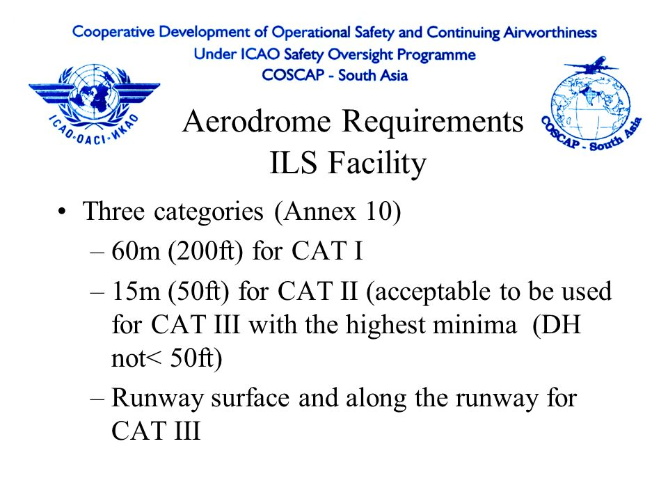 Aerodrome Requirements Obstacle Clearance Area Obstacle Free Zone – airspace above inner approach surface, inner transitional and balked landing surfa
