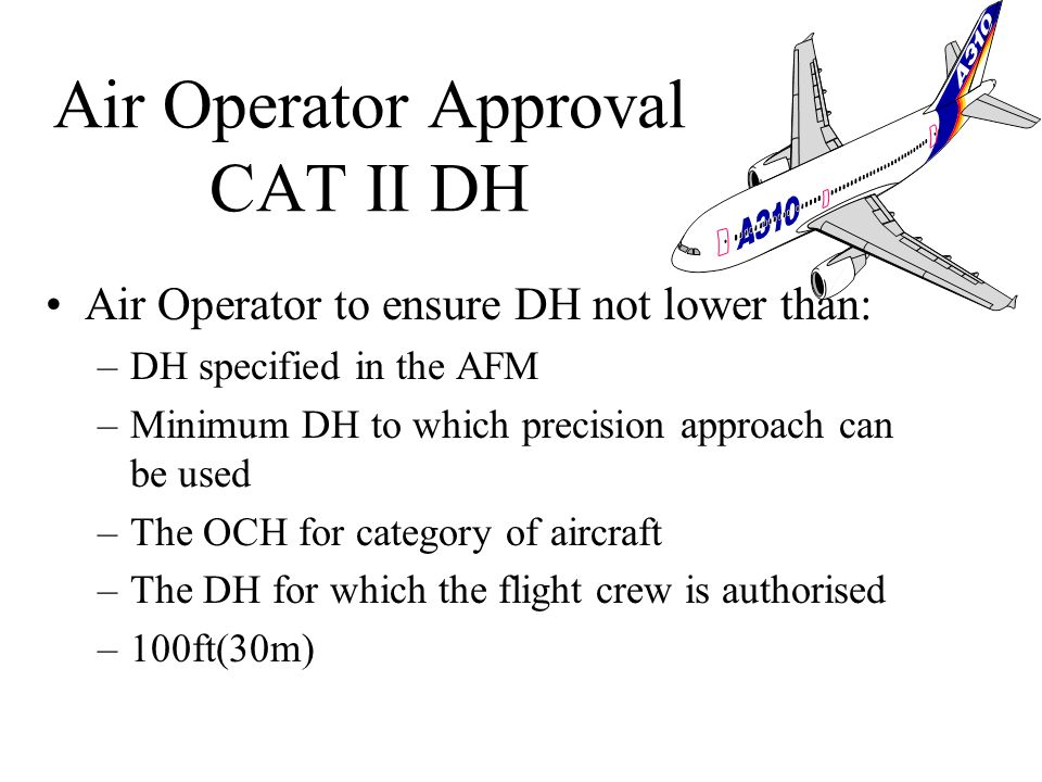 Operator take account of: –aircraft performance –composition of flight crew –runway which may be used –adequacy of visual and non-visual aids –aircraf