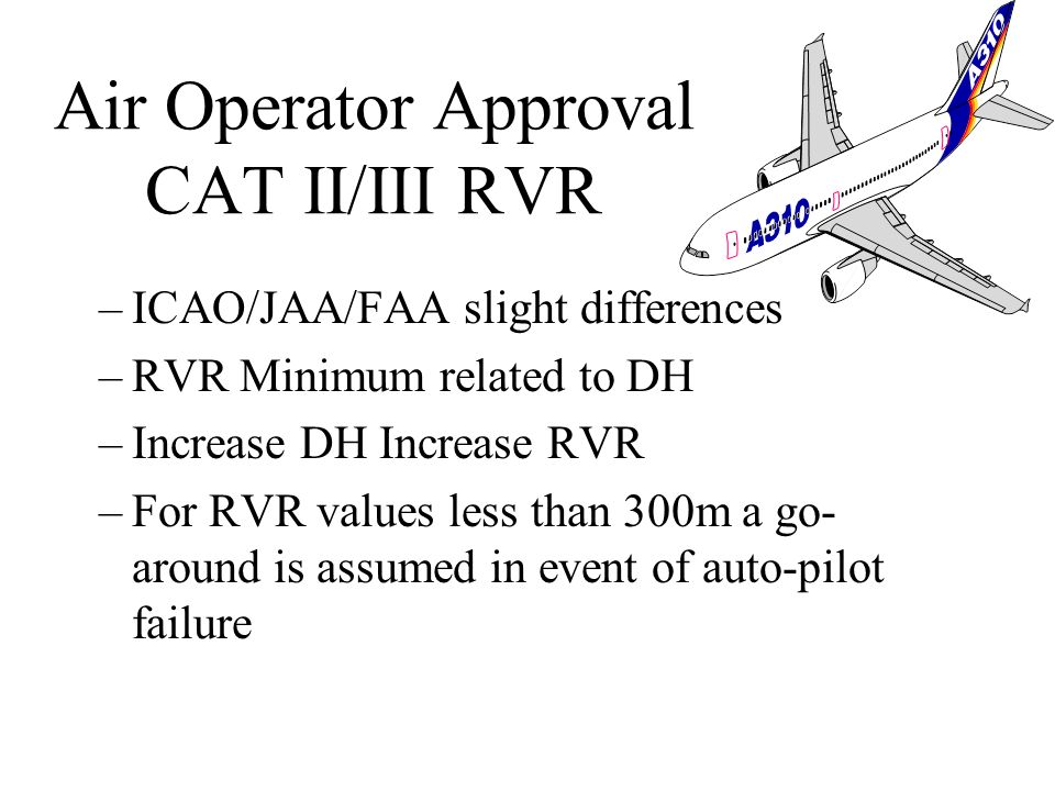 An air operator to ensure that DH not lower than: –Minimum DH in the AFM –Minimum DH to which the precision approach can be used –The DH to which the