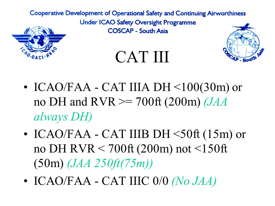 Equipment listed in AFM to be operative MEL indicate status of CAT II/III Automatic landing certification requires simulations, assessments and flight test Touchdown, roll-out, automatic landing with various configurations and conditions tested Aeroplane and Equipment Certification