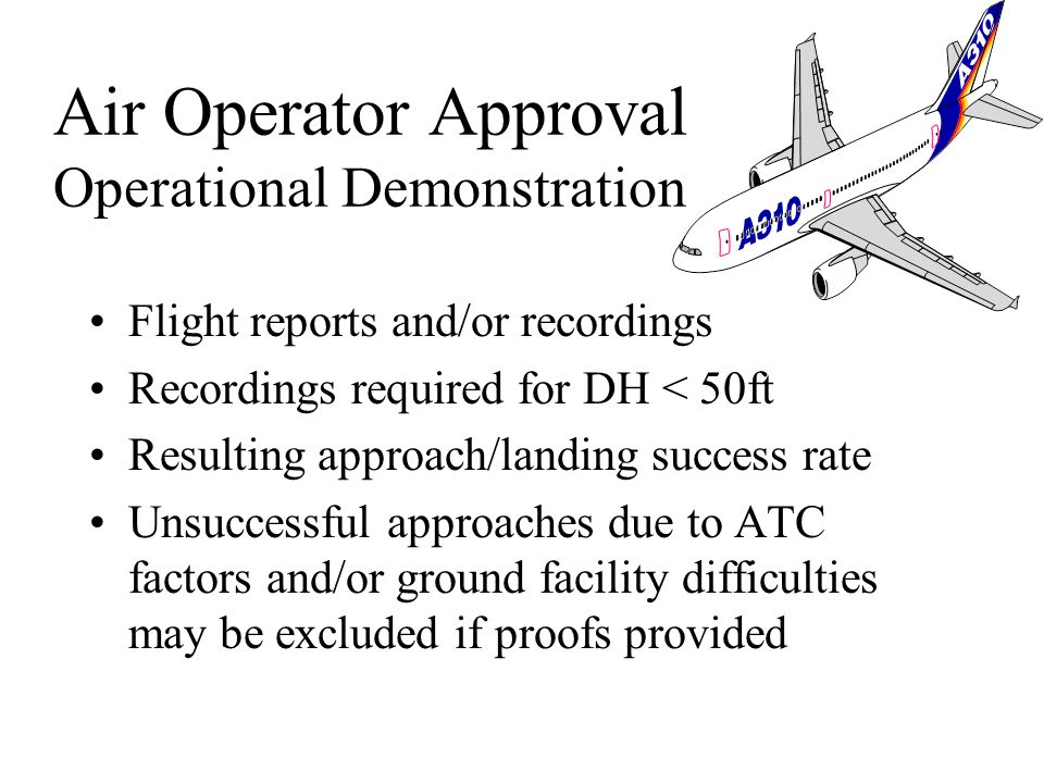 To establish that the air operator can carry out CAT II/III with the appropriate success rate and level of safety Performance and reliability meet air