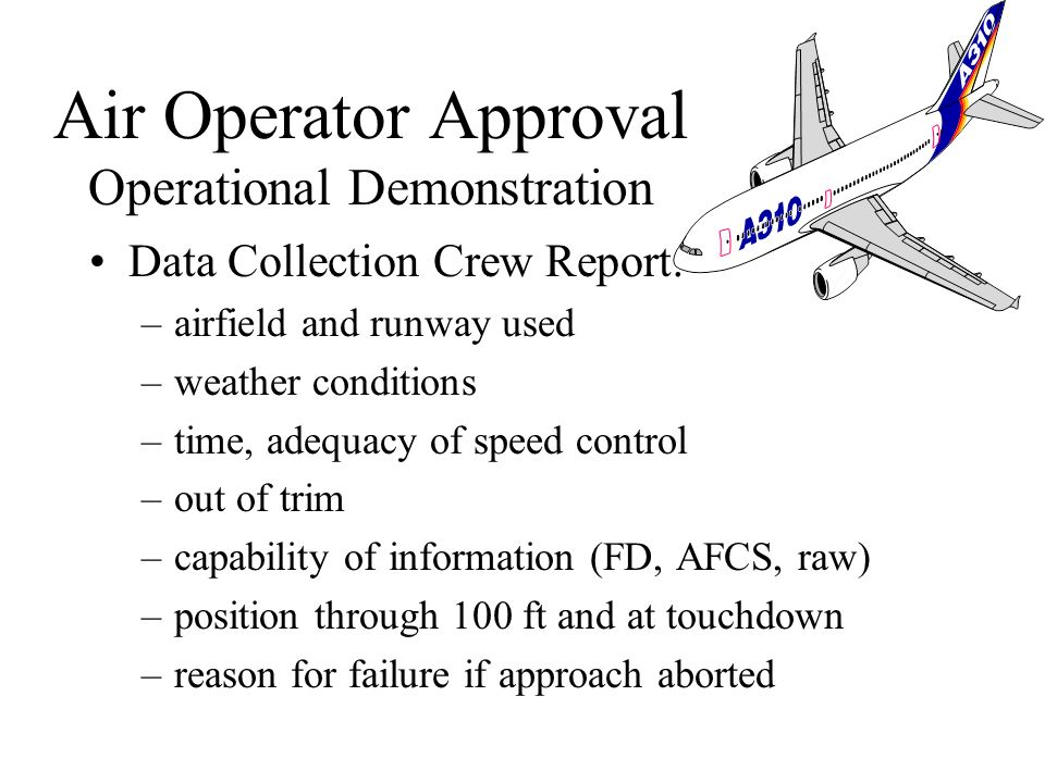 Flight reports and/or recordings Recordings required for DH < 50ft Resulting approach/landing success rate Unsuccessful approaches due to ATC factors
