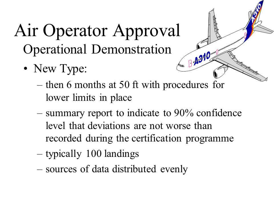 New Type: –6 months at 200ft with procedures for lower limits in place –Summary report to indicate to 90% confidence level that 95% would be successfu