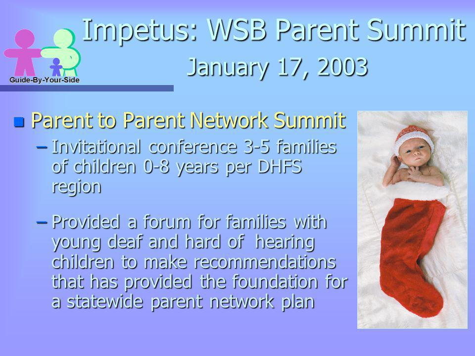 Impetus: WSB Parent Summit January 17, 2003 n Parent to Parent Network Summit –Invitational conference 3-5 families of children 0-8 years per DHFS reg