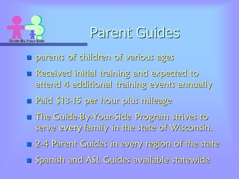 Parent Guides n parents of children of various ages n Received initial training and expected to attend 4 additional training events annually n Paid $1
