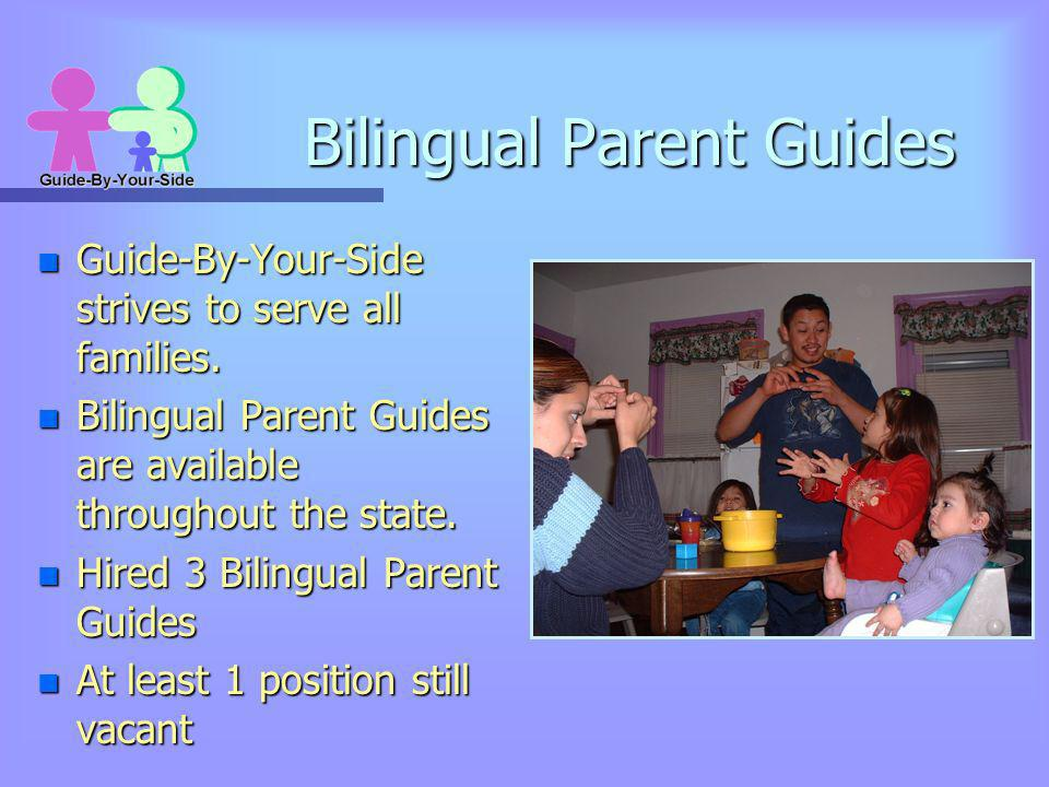 Bilingual Parent Guides n Guide-By-Your-Side strives to serve all families. n Bilingual Parent Guides are available throughout the state. n Hired 3 Bi