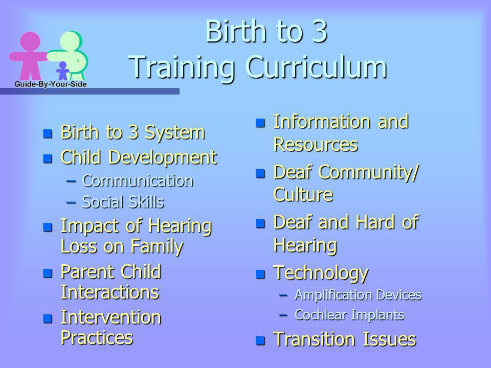 Birth to 3 Training Curriculum n Birth to 3 System n Child Development –Communication –Social Skills n Impact of Hearing Loss on Family n Parent Child