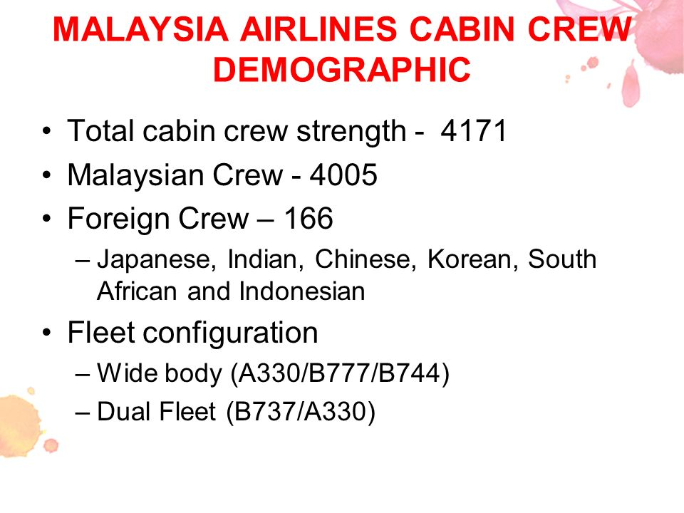 MALAYSIA AIRLINES CABIN CREW DEMOGRAPHIC Total cabin crew strength - 4171 Malaysian Crew - 4005 Foreign Crew – 166 –Japanese, Indian, Chinese, Korean,