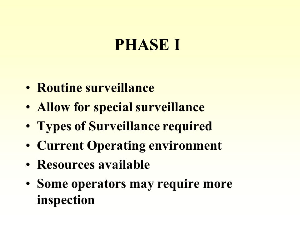PHASE I Routine surveillance Allow for special surveillance Types of Surveillance required Current Operating environment Resources available Some operators may require more inspection