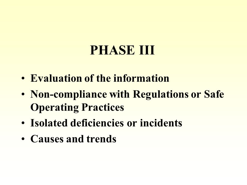 PHASE III Evaluation of the information Non-compliance with Regulations or Safe Operating Practices Isolated deficiencies or incidents Causes and trends