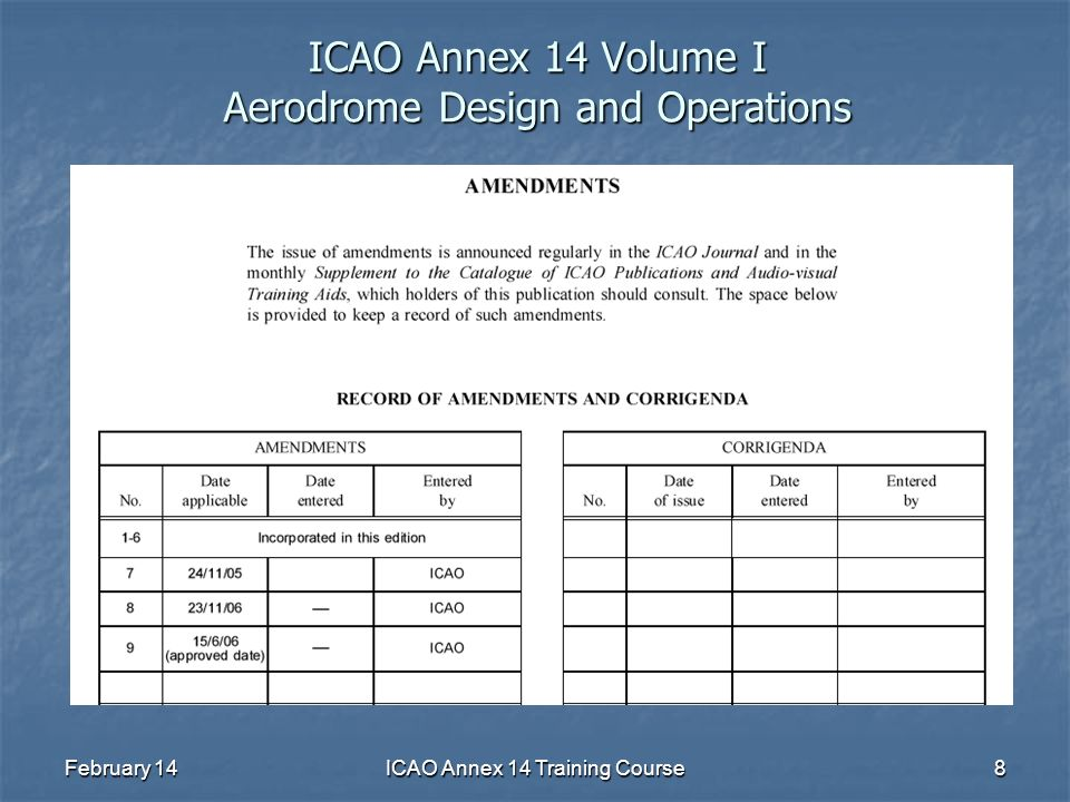 February 14ICAO Annex 14 Training Course8 ICAO Annex 14 Volume I Aerodrome Design and Operations