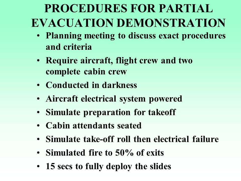 EVALUATION OF EVACUATION DEMONSTRATION Adherence by flight and cabin crew to assigned duty Effectiveness of PIC in exercise of command Succession of command in event of casualties Effectiveness of crew for evacuation duties Shortcomings, deficiencies or delays