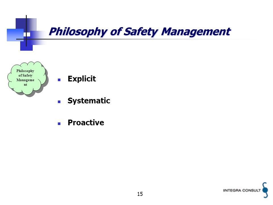 15 Philosophy of Safety Management Explicit Systematic Proactive Philosophy of Safety Manageme nt