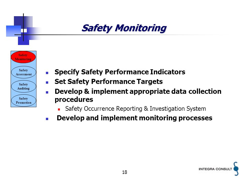 18 Safety Monitoring Specify Safety Performance Indicators Set Safety Performance Targets Develop & implement appropriate data collection procedures Safety Occurrence Reporting & Investigation System Develop and implement monitoring processes Safety Monitoring Safety Assessment Safety Auditing Safety Promotion