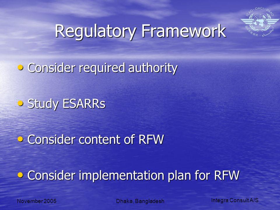 Integra Consult A/S November 2005Dhaka, Bangladesh Regulatory Framework Consider required authority Consider required authority Study ESARRs Study ESARRs Consider content of RFW Consider content of RFW Consider implementation plan for RFW Consider implementation plan for RFW