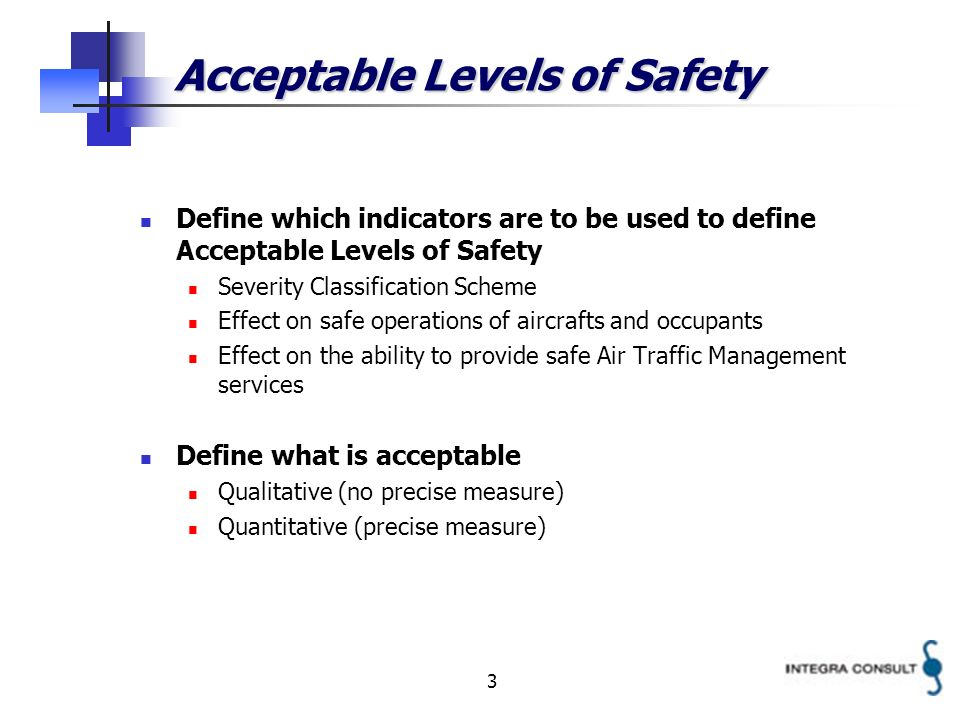 3 Define which indicators are to be used to define Acceptable Levels of Safety Severity Classification Scheme Effect on safe operations of aircrafts a