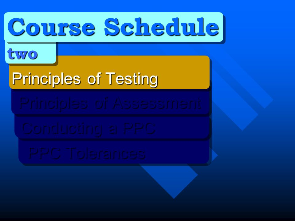 Course Schedule two Principles of Testing Principles of Testing Principles of Assessment Principles of Assessment Conducting a PPC Conducting a PPC PPC Tolerances PPC Tolerances