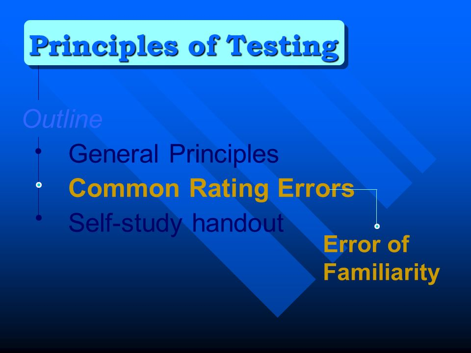 Outline General Principles Common Rating Errors Self-study handout Principles of Testing Error of Familiarity