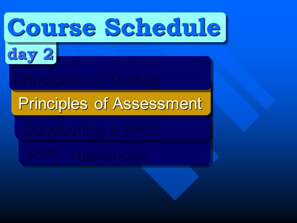 Course Schedule day 2 Principles of Testing Principles of Testing Principles of Assessment Principles of Assessment Conducting a PPC Conducting a PPC PPC Tolerances PPC Tolerances