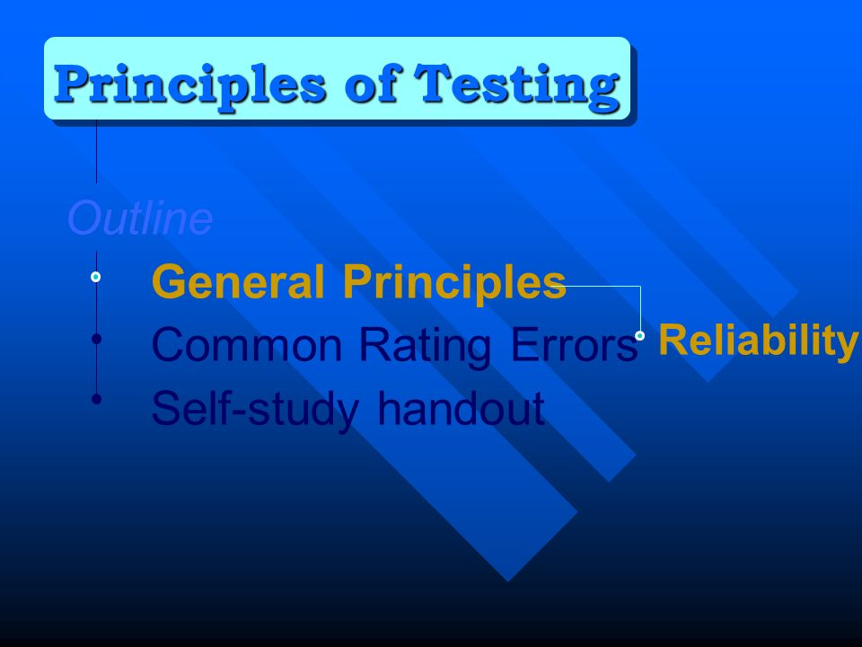 Outline General Principles Common Rating Errors Self-study handout Principles of Testing Reliability