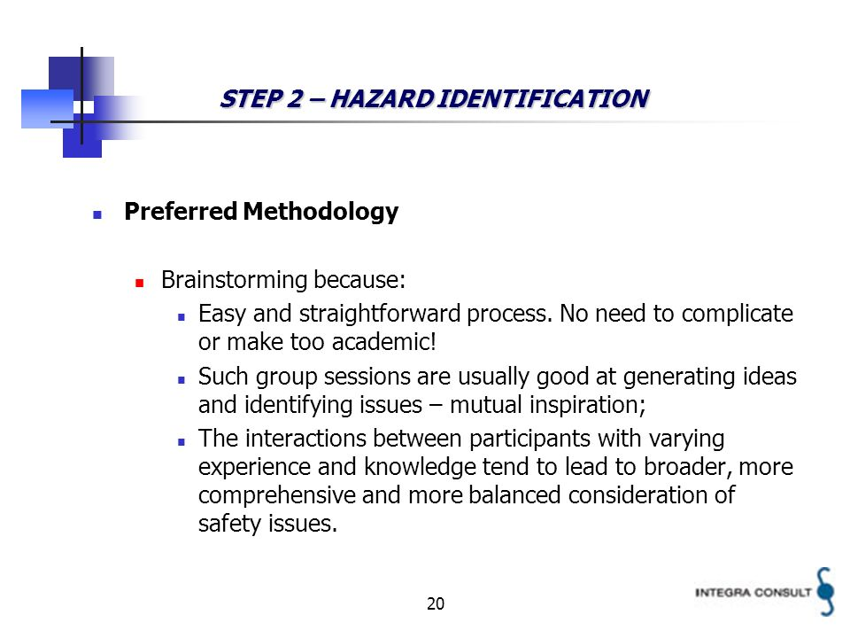 20 STEP 2 – HAZARD IDENTIFICATION Preferred Methodology Brainstorming because: Easy and straightforward process. No need to complicate or make too aca