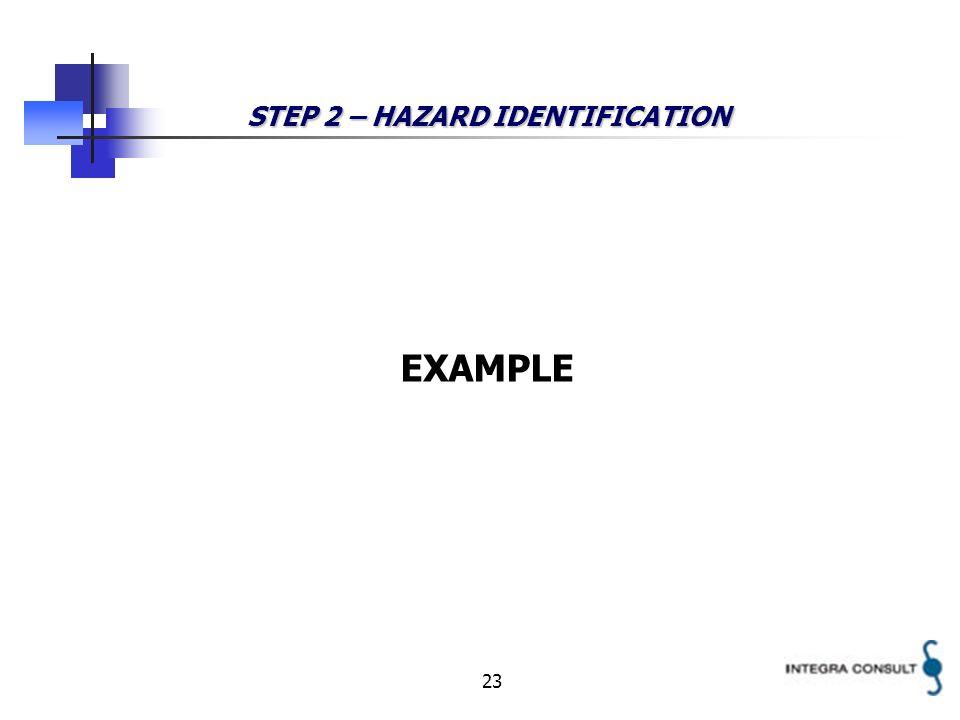 23 STEP 2 – HAZARD IDENTIFICATION EXAMPLE